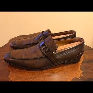 Gucci Men's Leather GG Loafer Shoes Dark Brown